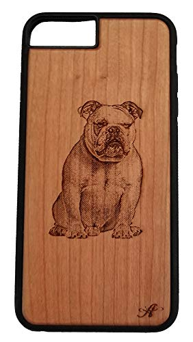 iPhone 6,7,8 Compatible Laser Engraved Cherry Wood Cell Phone Case…Created from a Photo of an English Bulldog 1