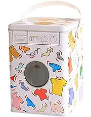 Metall tvättpulver tenn, tvättpulver förvaringsplåt med lock och bärhandtag, tvättpulver tvättmedel förvaringsbox pulverlackerad fuktsäker rostfri förvaringslåda