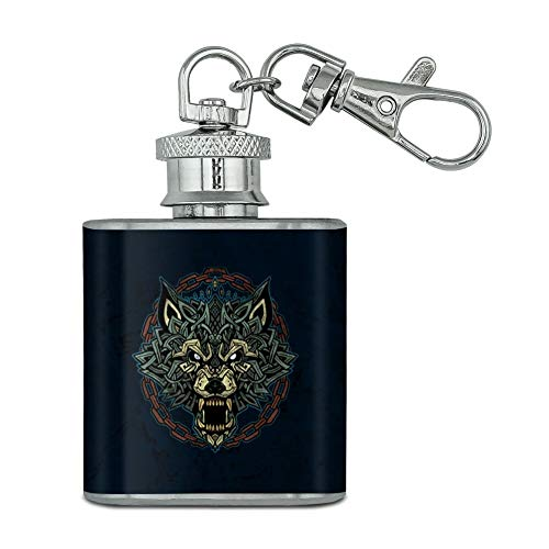 Fenrir Fierce Snarling Wolf In Chains Norse Mythology Stainless Steel 1oz Mini Flask Key Chain ()
