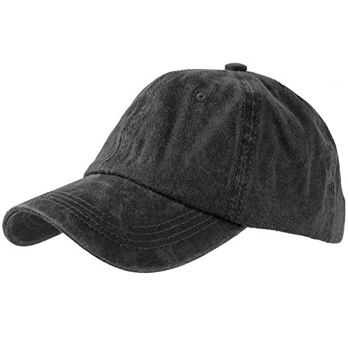 Washed Cotton Baseball Cap (One Size, Black)