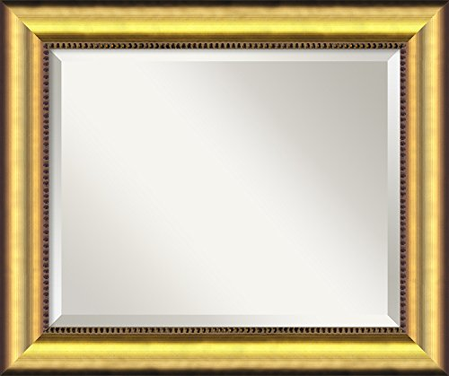 Las Vegas Wood - Amanti Art Framed Vegas Gold Solid Wood Wall Mirrors, Glass Size 16x20,