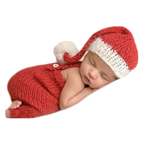 Coberllus Newborn Monthly Baby Photo Props Christmas Hat Pants for Boy Girls Photography -