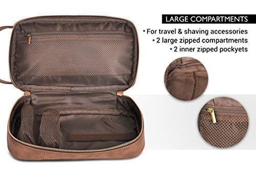 b646f3ac33 Vetelli Leather Toiletry Bag For Men (Dopp Kit) with free Travel Bottles.  The