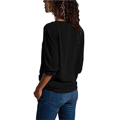 Chemise Manches Haut V Blouse Tunique Shirt Casual en Col Noir Top POINGS Fluide Longues Femme UEv0nqx5Fw