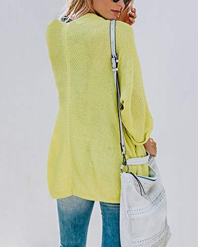 senza Cappotto in Manica Autunno Cardigan Chiusura Maglioni Tops ShallGood Colore Giacca Donna Solido Lunga Lavorato Giallo Maglia Cardigan Moda Casuale 14wZ8xnXqp