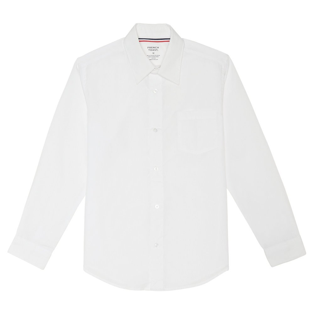 French Toast Men's Long Sleeve Classic Dress Shirt, White, Small