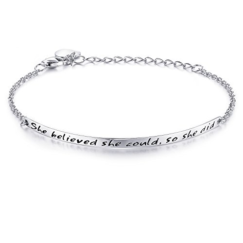 "NINAMAID ""She Believed she Could so she did"" Engraved 925 Sterling Silver Inspirational Bangle Bracelets"