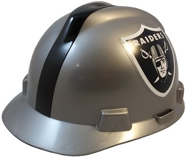 MSA NFL Team Safety Helmets with One-Touch Adjustable Suspension and Hard Hat Tote - Oakland Raiders