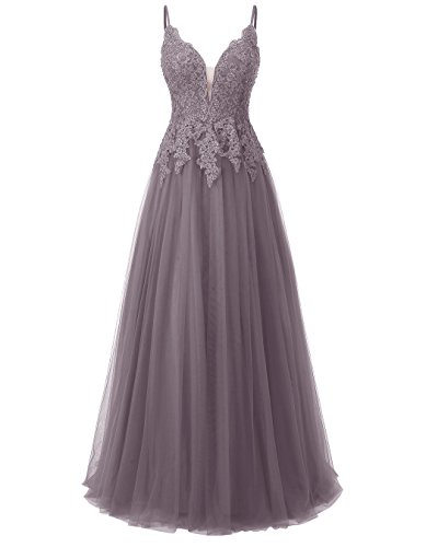 Prom Spaghetti Gown Lace Dress Tulle Appliques Grey Long Ball Straps Formal Women's ALAGIRLS wv6ztt
