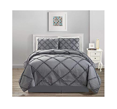 All American Collection New 4pc Diamond Pleated Ruffle Bedspread/Quilt Set with Bedskirt (King Size, ()