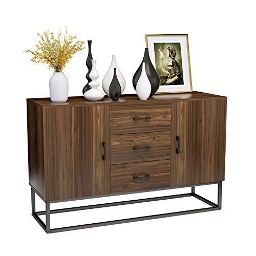 Mecor Sideboard Cabinet, Kitchen Sideboard, Industrial Style Sideboard, Top Buffet Storage Cabinet Collective Design 2 Doors and 3 Drawers, Stable Iron Frame, Walnut Brown
