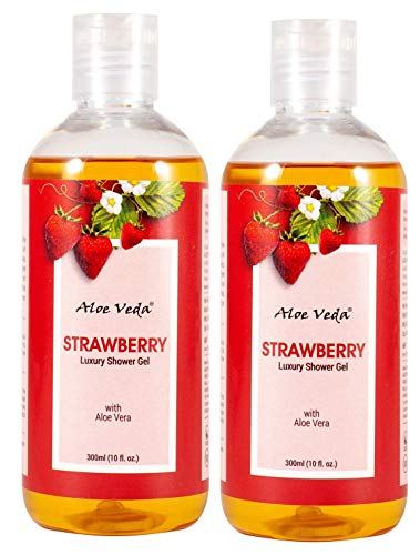 Aloe Veda Luxury Body Wash Strawberry Shower Gel For Women & Men – Nourishing Showergel- Pack of 2-(2 X 300ml) (Strawberry)