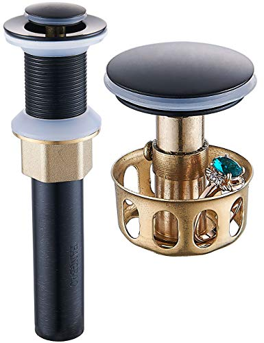 REGALMIX Oil Rubbed Bronze Pop UP Drain, Bathroom Vessel Lavatory Vanity Faucet Sink Stopper, Built-In Anti-Clogging Strainer, Fits Standard Drain Hole(1-1/2