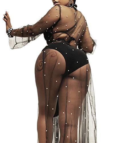 Women's Sexy Mesh See Through Kimono Cardigan Cover Up Split Maxi Dress (Black, ()