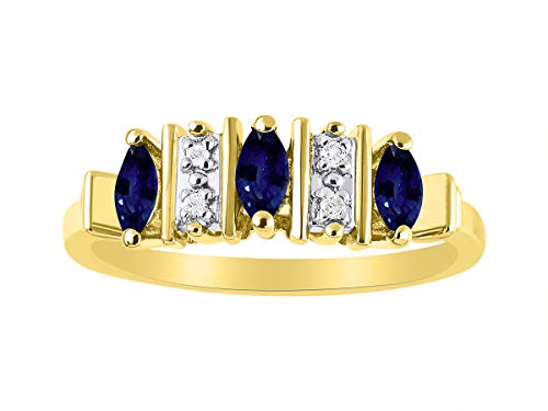 Marquise Sapphire & Diamond Ring Set in Yellow Gold Plated Silver .925 ()