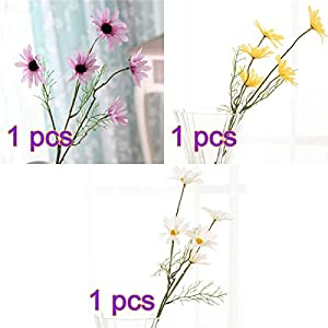 BELUPAID 3 Pack 5 Head Artificial Gerbera Daisy Flowers High-Grade Cosmos Bouquet Fake Small Wild Chrysanthemum for Home Wedding Hotel Office Cafe Restaurant 39