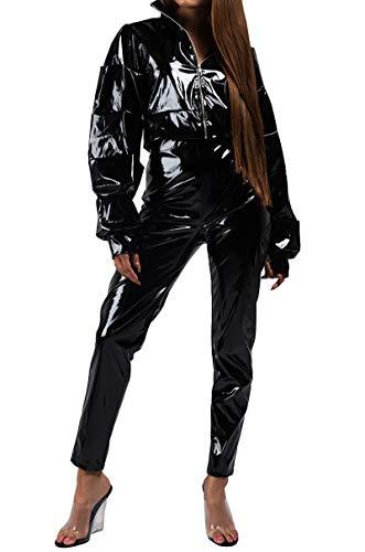 Black Back Zip Latex - AKIRA Women's Latex Patent Slick Look Shiny Zip Back High Waist Skinny Pants-Black_S