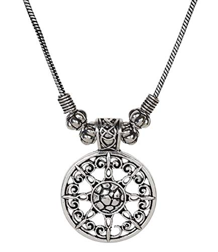(Sansar India Oxidized Pendant Indian Necklace Jewelry for Girls and Women 1591)