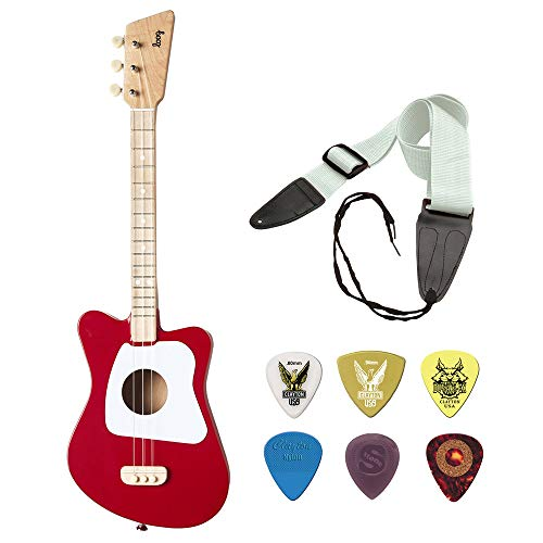 LOOG Mini Guitar for Children (Red) with GSA10WT Guitar Strap and Planet Waves Guitar Pick Assortment 6-Pack Bundle (Guitar Green Planet Waves Picks)