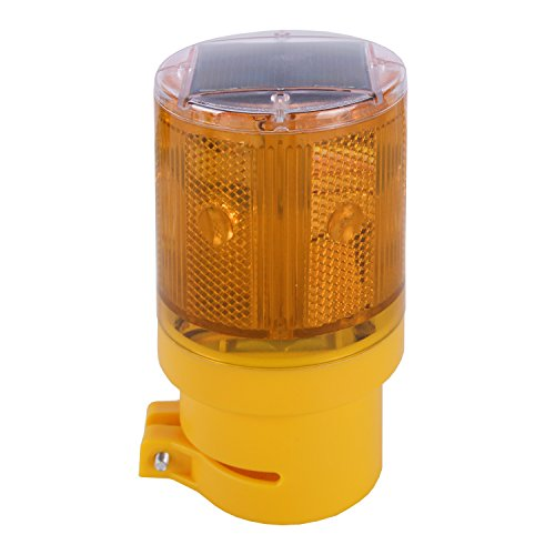 Qooltek Solar LED Warning Light Wireless Control Garden Warning Lamp Flashing Barricade Light Road Construction Safety Signs Flash Traffic Light Flicker Beacon Lamp (Yellow) - Flashing Safety Reflector