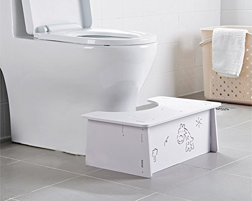 Home-organizer Tech Toilet Stool,Squat Toilet Stool, Bathroom Squat Toilet Stool,White Wood Bathroom Step,Comfortable Squat Aid for Kids,Children,Toddlers,Adults- 7 inch (Giraffe) by Home-organizer Tech