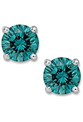 PARIKHS Round Blue Diamond stud (IGI Certified from 0.70 ct & up) AAA Quality, 0.04 ct - 2.00 ct