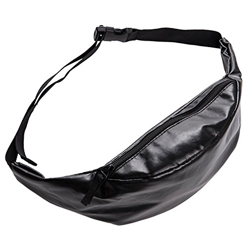 Doris Boutique us - PU Leather Fanny Pack Waist Pack Hiking Pack Bike Pack Gold Bag (Black 01)