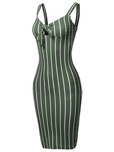 Green Stripe Halter - Made by Emma Stretch Sweet Heart Neckline with Self-Tie Stripe Sexy Dress Olive S