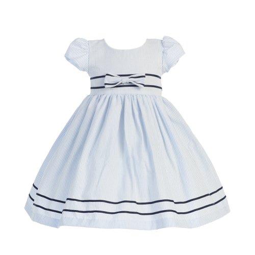 Lito Girls 2T Light Blue Stripe Short Sleeve Seersucker Easter Dress