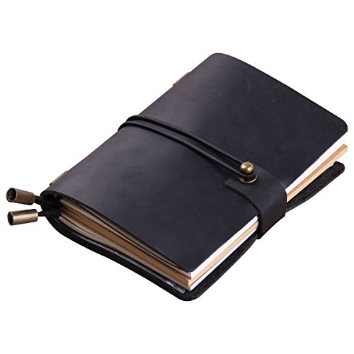 Robrasim Handmade Traveler's Notebook – Journal Sketchbook – Vintage Refillable Leather Notebook – Pocket Size 13x10cm – Black