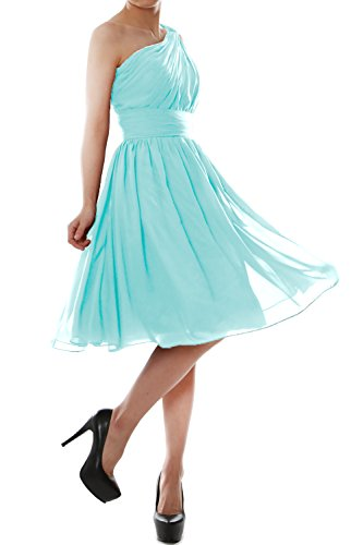 Shoulder Cocktail Party Bridesmaid Short One Dress Women Chiffon Aqua MACloth Gown nSCq6xAwP