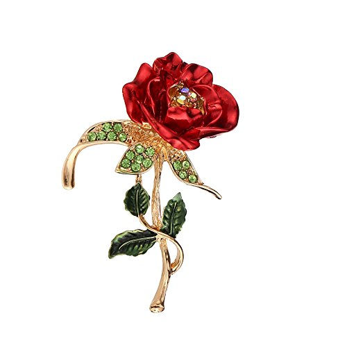- MUZHE Red Rose Flower Brooch Pin with Rhinestone for Women Wedding