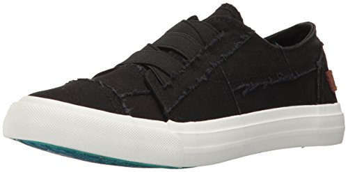 Blowfish Women's Marley Fashion Sneaker, Black Color Washed Canvas, 7.5 M US