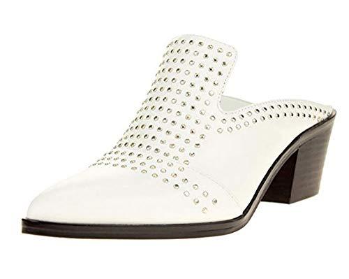 1.STATE Women's Lon Studded Slip-On Mule, White 7 B(M) US