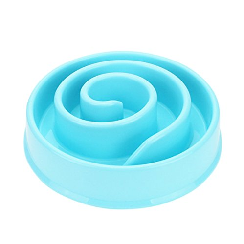 Idepet Fun Feeder Slow Feed Interactive Bloat Stop Pet Dog Cat Bowl Snail Shape Design (Blue)