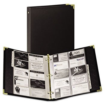 SAMSILL CORPORATION, Vinyl Business Card Binder Holds 200 2 x 3 1/2 Cards, Ebony