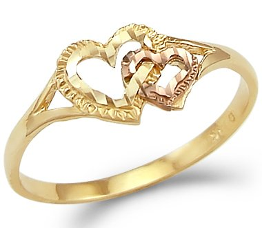 Size- 9 - 14k Yellow n Rose Gold Two Tone Ladies Heart Love Ring