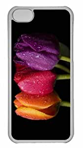 Customized iphone 5C PC Transparent Case - Colorful Tulips 5 Personalized Cover
