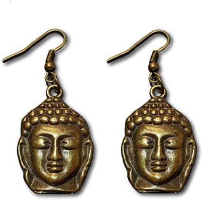 Pashal Boucles d/'oreilles pendantes /à motif t/ête de Bouddha Bronze