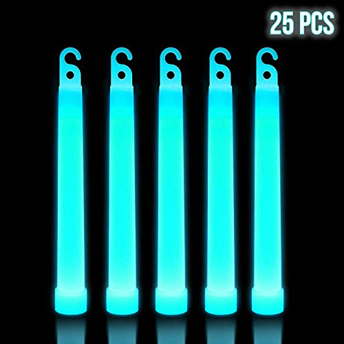 Lumistick 6 Inch Premium Glow Sticks | 15mm Thick Flat Bottom Illuminating Glowing Sticks | Waterproof & Non-Toxic Light Up Neon Sticks with Hook for Camping & Hiking