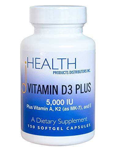 Vitamin D3 Plus – 5000 IU Vitamin D3 | Vitamin K2 (as MK-7) and Vitamin A | Natural Form of Vitamin D | Includes Vitamin E (Tocotrienols) as an Antioxidant | Non-GMO | 150 Softgel Capsules