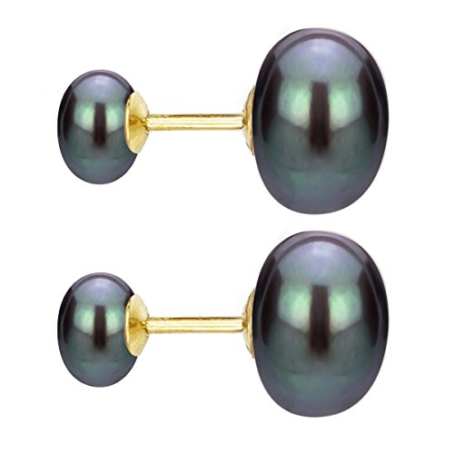 14k Yellow Gold 8-8.5mm and 10-10.5mm Dyed-black Freshwater Cultured Double Pearl Stud Earrings