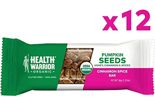 Health Warrior Pumpkin Seed Protein Bars, Cinnamon Spice, 8g Plant Protein, Gluten Free, Certified Organic, 12 Count