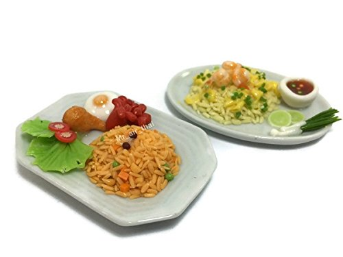 2 Miniature Set Food Fried Rice Dollhouse Drink Food Vegetable Fruit Decor Furniture (American fried rice,Shrimp fried rice) F04 ()