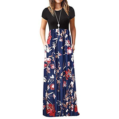 WEISUN Women Casual Dress Short Sleeve O-Neck Print Maxi Dress Summer Tank Plus Size Long Dress Navy