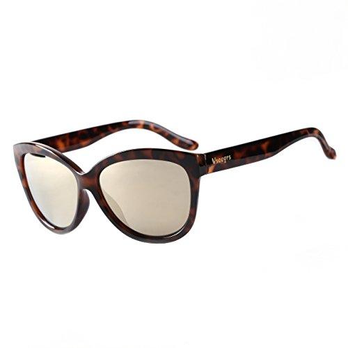1316dea6de Vseegrs Mirrored Lens Retro Fashion Designer Cateye Sunglasses UV  Protection Shades for Women girls(Leopard B