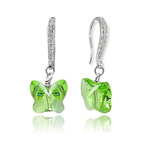 (Sterling Silver Light Green Butterfly Dangle Earrings Made with Swarovski Crystals for Women Girls)