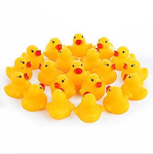 Small Rubber Ducks, Yellow Floating rubber ducks Bath Toys Pack of 20 EQLEF®