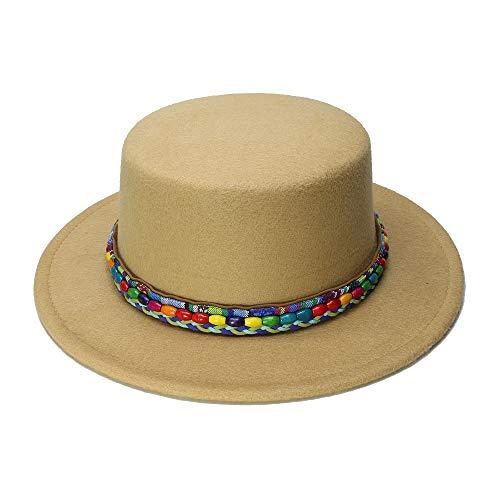 (Stylish and Versatile, Elegant and Retro New Wool Boater Flat Top Hat for Women's Felt Wide Brim Fedora Hat Lady Prok Foot Felt Hat Bowler Gambler by Original Design Fashion Trend hat)