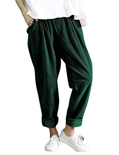 (IDEALSANXUN Women's Retro Thick Corduroy Elastic Waist Loose Fit Casual Harem Pants Trousers (Medium, Green))